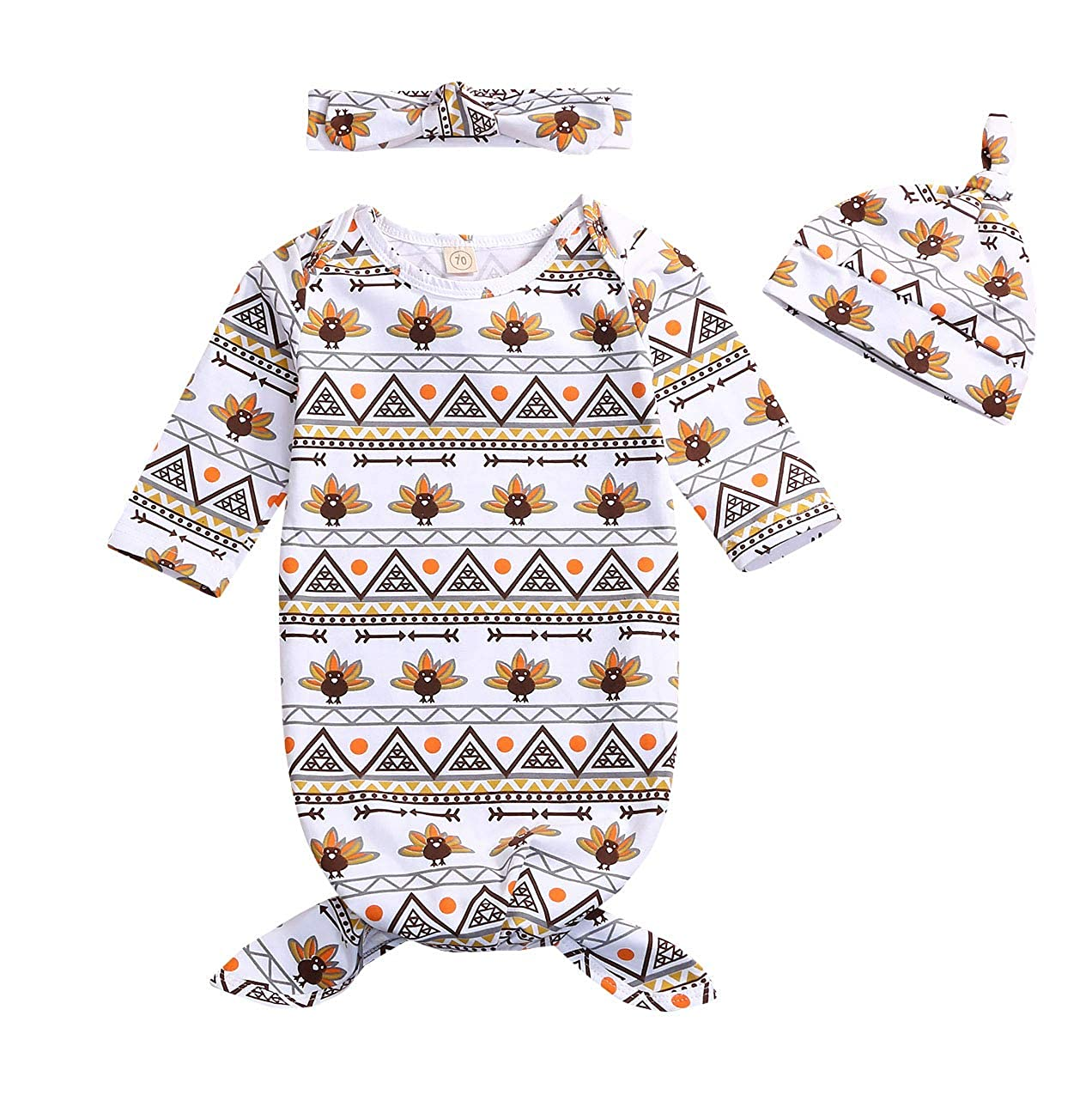 YOUNGER TREE 3Pcs Newborn Baby Boys Girls Gown Sleepwear Thanksgiving Turkey Print Long Sleeve Sleeping Bags