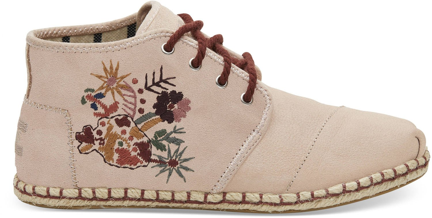 TOMS Women's Bota Blush Floral Embroidery Suede Rope 6.5 B US