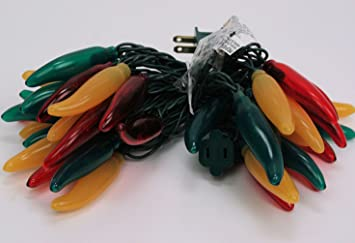 Chili Pepper Lights Fiesta Lights Red Green Yellow Set Of 35
