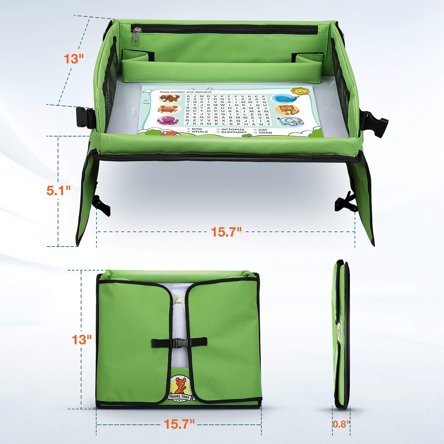 Plane Snack /& Play Travel Tray with Dry Erase Top 40x32 cm Bonus Educational Drawing Paper Set Lenbest Premium Child Play Tray for Car Stroller