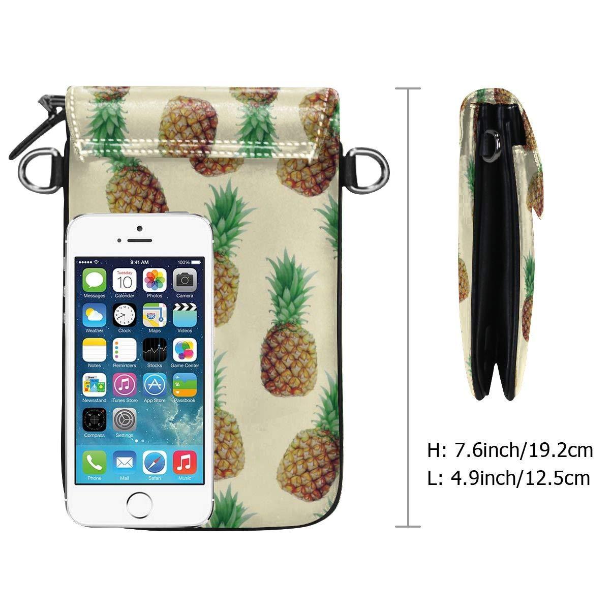 V5DGFJH.B Womens Crossbody Cell Phone Bags Fruit Pineapple Girls Small Credit Card Shoulder Handbag Coin Purse