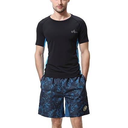 b507ee177 CYCEOS Men's Short Sleeve Rash Guard Shirt - UPF 50+ Rashguard Swim Shirts  Men Swimwear Surf Athletic Tops