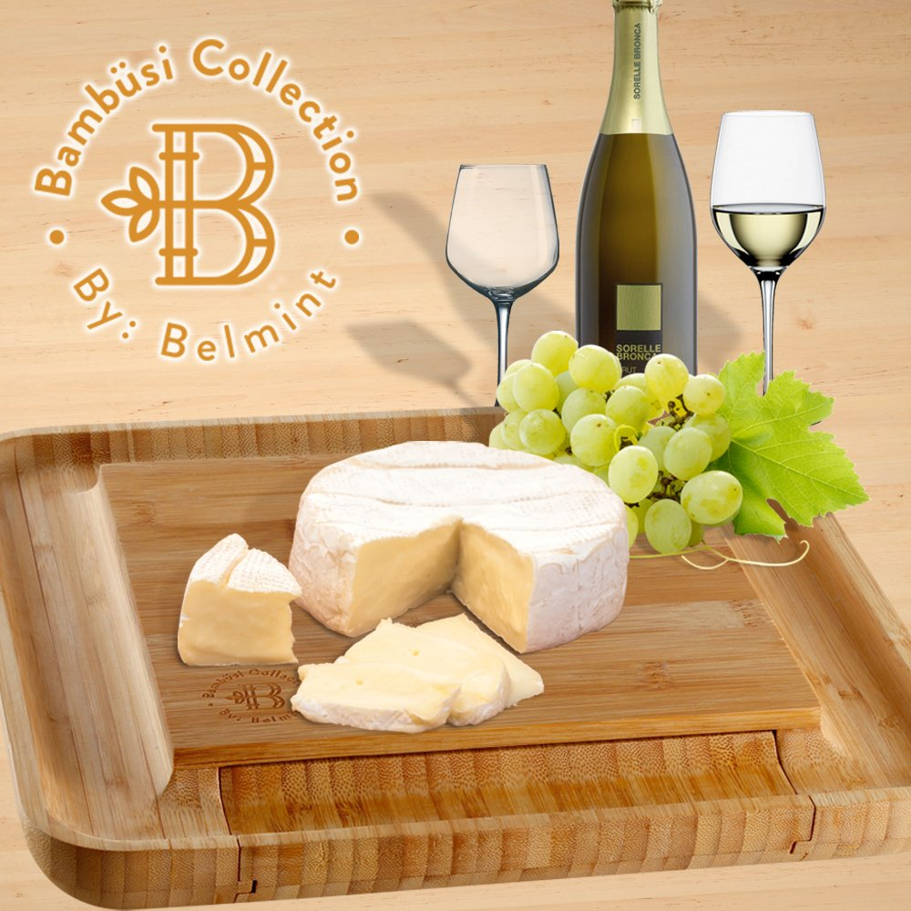 Bamboo Cheese Board with Cutlery Set, Wood Charcuterie Platter and Serving Meat Board with Slide-Out Drawer with 4 Stainless Steel Knife and Server Set - Perfect Gift Idea. By Bambusi by Bambüsi (Image #9)