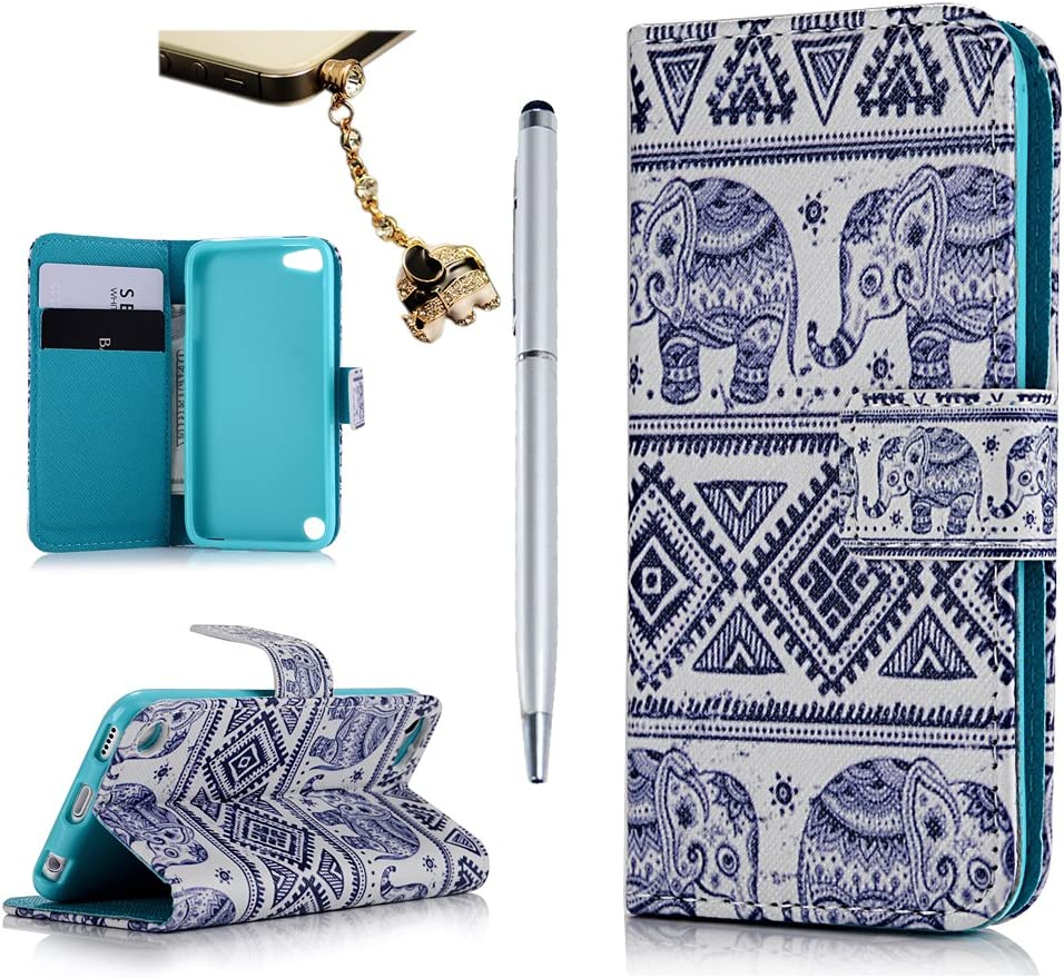 MOLLYCOOCLE iPod Touch 6 Case, Touch 5 Case, Stand Wallet Purse Credit Card ID Holders Magnetic Tribal Elephant Pattern Design PU Leather Ultra Slim Fit Flip Folio Cover for iPod Touch 5 6