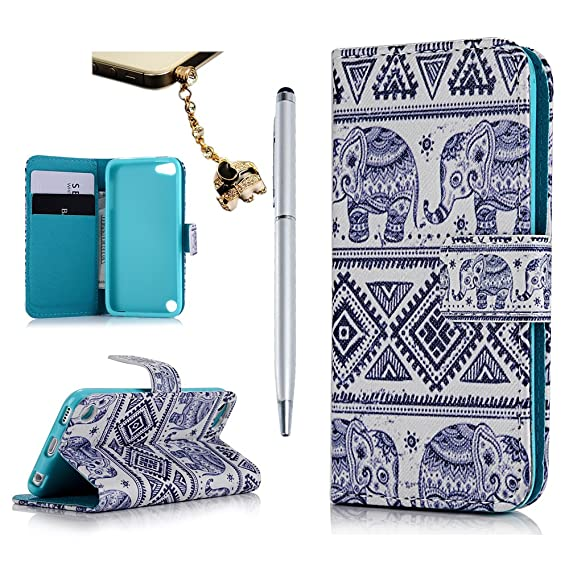 best loved ef469 8b871 MOLLYCOOCLE iPod Touch 6 Case, Touch 5 Case, Stand Wallet Purse Credit Card  ID Holders Magnetic Tribal Elephant Pattern Design PU Leather Ultra Slim ...