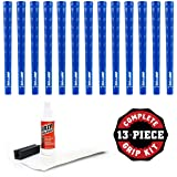 Pure Grips DTX Grip Kit with Tape, Solvent and Vise Clamp (13-Piece), Standard, Blue