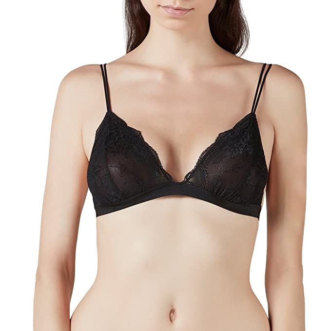 bf90a098454b4 LastFor1 Semi Sheer Simply Lace Triangle Bralette Wireless Bra Deep V(Black  S)