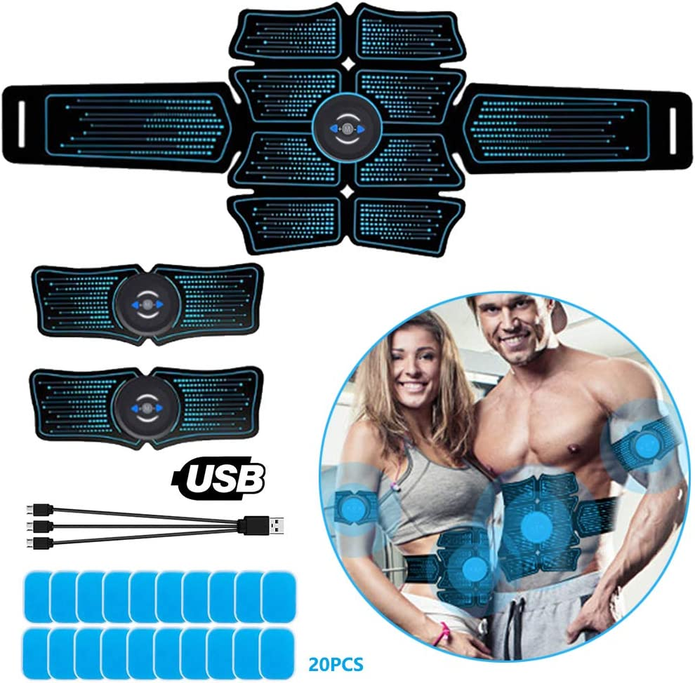 ABS Stimulator Portable Abs Trainer for Abdomen Waist Thighs Arms Portable Muscle Trainer EMS Abdominal Toning Belt for Men /& Women Calves Losing Weight /& Building Muscle etc