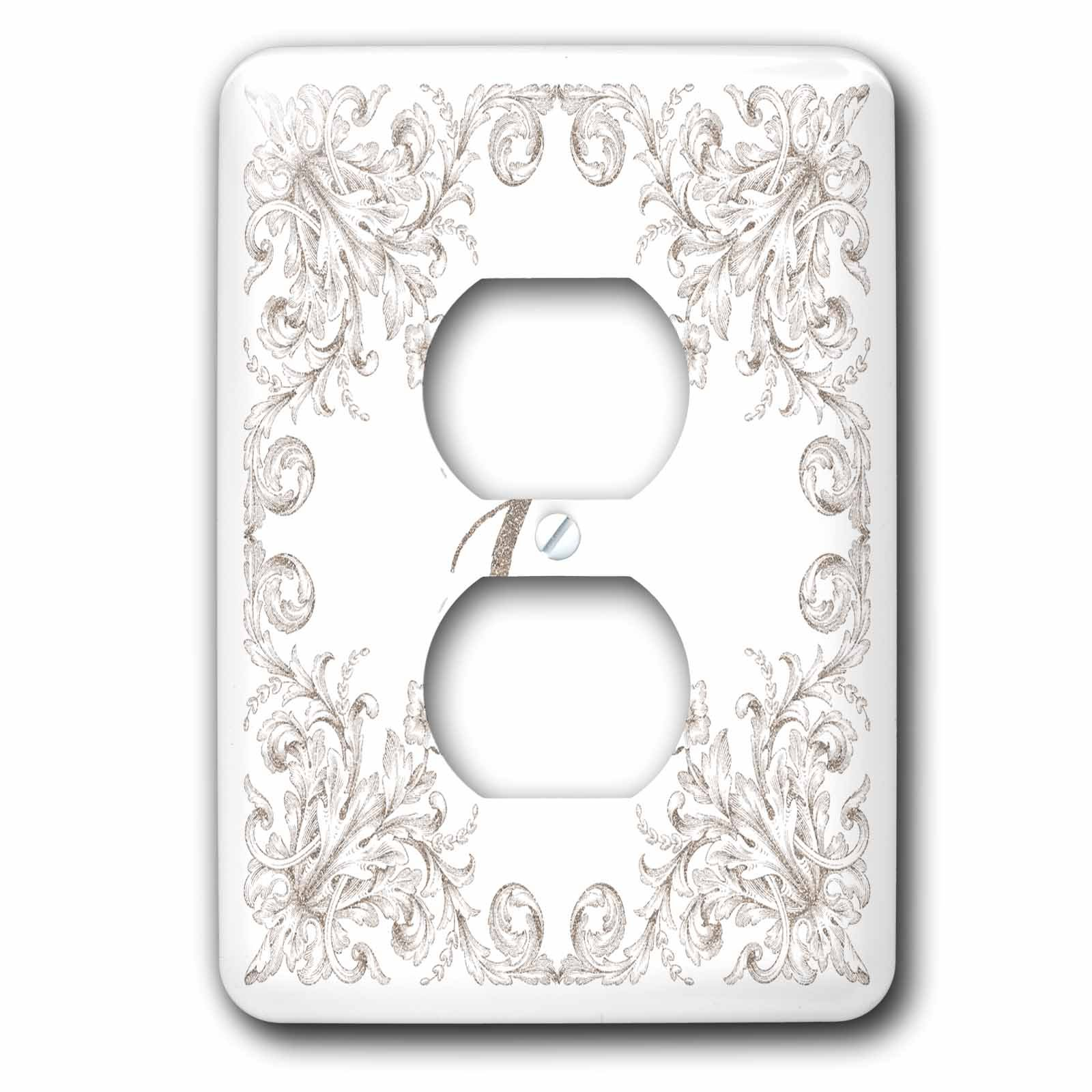 3dRose Uta Naumann Personal Monogram Initials - Letter C Personal Luxury Vintage Glitter Monogram-Personalized Initial - Light Switch Covers - 2 plug outlet cover (lsp_275302_6)