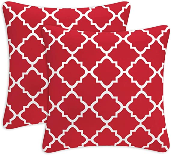 Fabritones Decorative Outdoor Pillows With Insert 2 Packs Red Quatrefoil Lattice Pattern Patio Accent Pillows Throw Covers 18x18 Inch Square Cushions For Patio Furniture Garden Outdoor Amazon Com