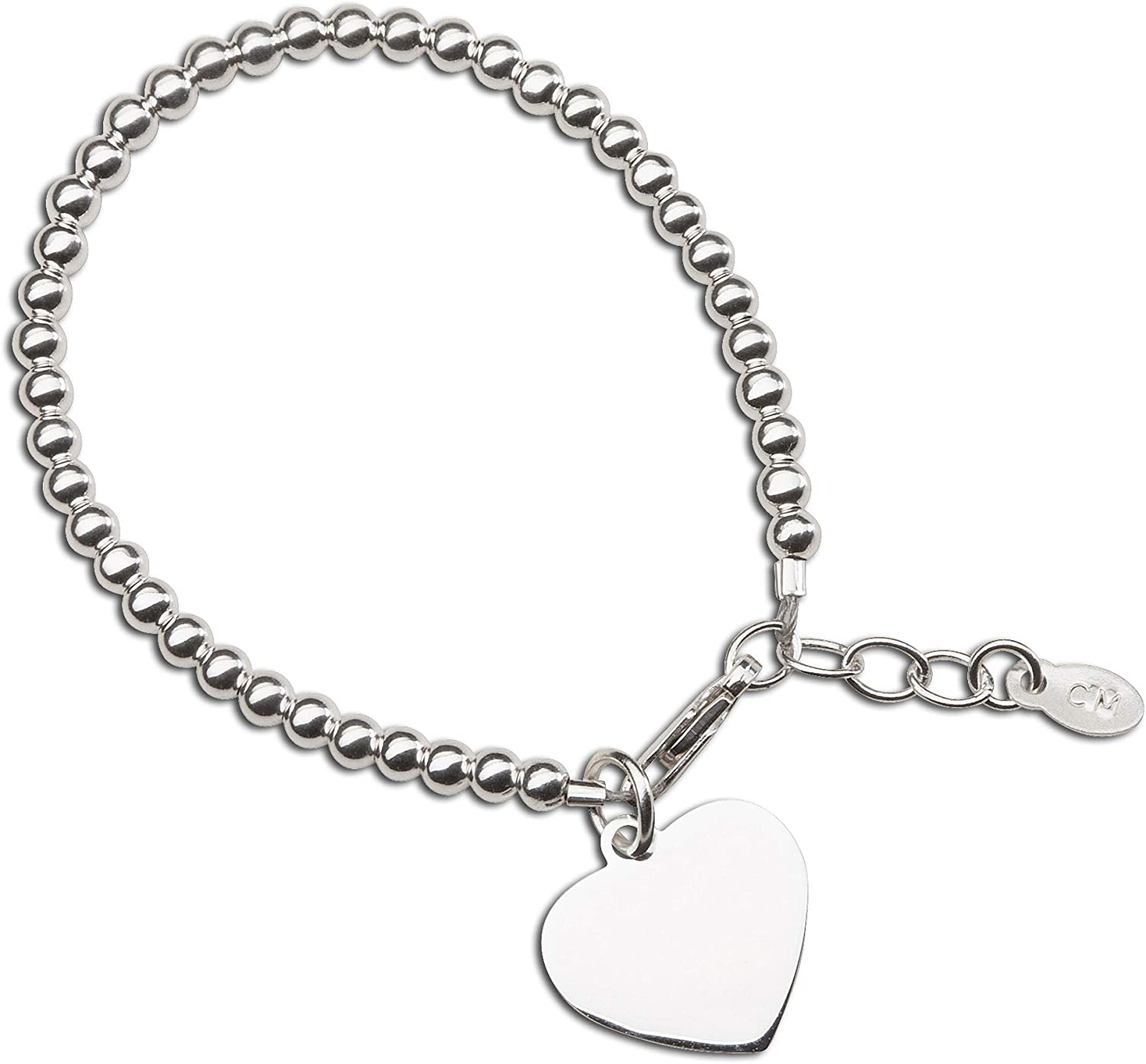 """925 Sterling Silver Personalised Baby Anchor CZ ID Christening Bracelet 5.5/"""""""
