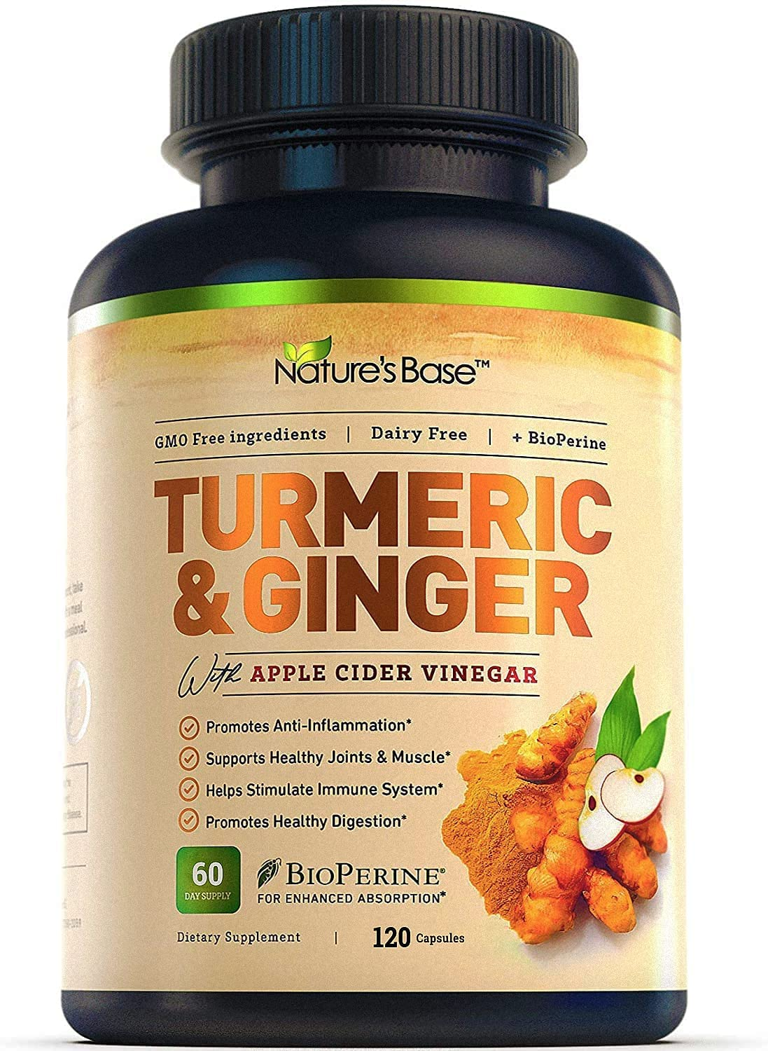 Turmeric Curcumin with Ginger & Apple Cider Vinegar, BioPerine Black Pepper, 95% Curcuminoids, Natural Joint & Healthy Inflammatory Support, Nature's Base (120 Count)
