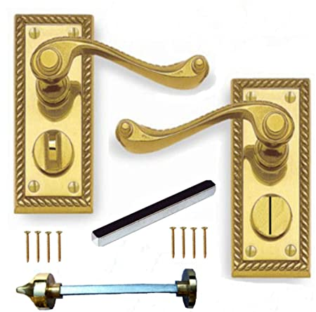 polished brass georgian suite privacy wc door handles pair amazon