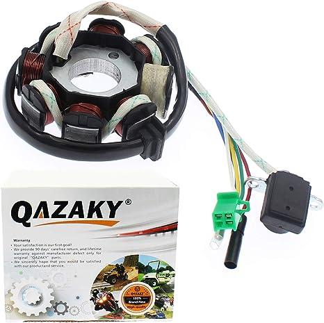 Qazaky Magneto Stator AC Bobine dallumage 8/POLE 5-Wire pour GY6/125/cc 150/cc ATV Scooter cyclomoteur Go Kart Buggy Quad Pit Dirt bike 4/temps Qmi152/Qmi157/Qmj152/Qmj157/Taotao Roketa Buyang Sunl