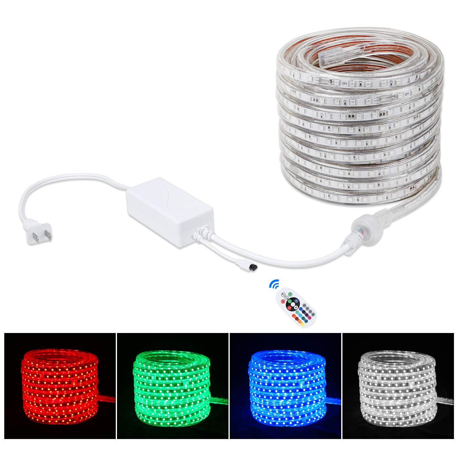 Brillihood Flexible LED RGB Rope Light Strip, Multi Color Changing SMD 5050 LEDs, 110-120V AC, Dimmable, Waterproof, Indoor/Outdoor Rope Lighting + Remote Controller - (10m/32.8ft)
