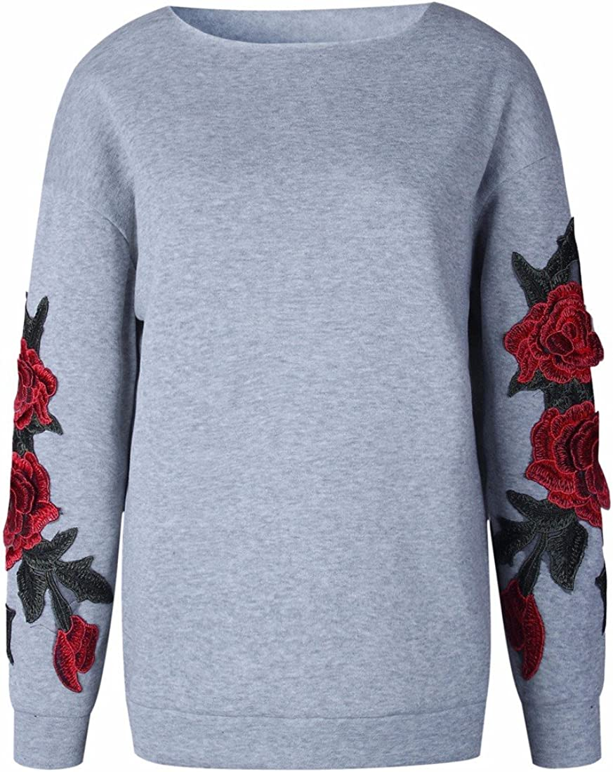 Paixpays Women Floral Embroidery Long Sleeve Rose Round Collar Top Sweatshirts