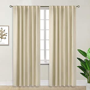 BGment Rod Pocket and Back Tab Blackout Curtains for Bedroom - Thermal Insulated Room Darkening Curtains for Living Room, 2 Window Curtain Panels (52 x 84 Inch, Beige)