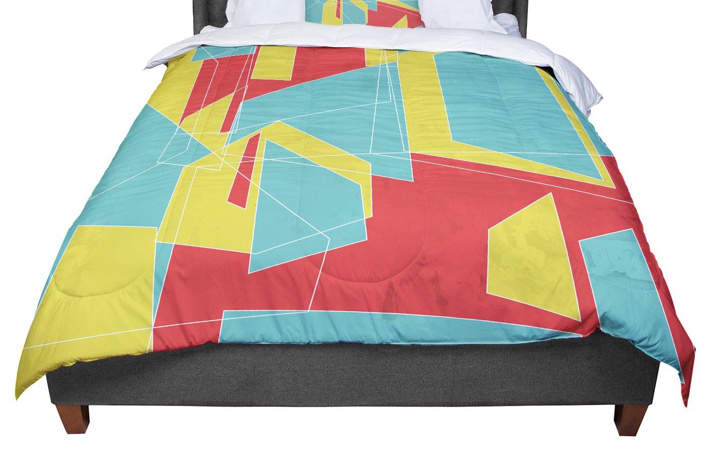 104 X 88 Cal King Comforter KESS InHouse MaJoBV Cartagena Balconies Teal Red Yellow King