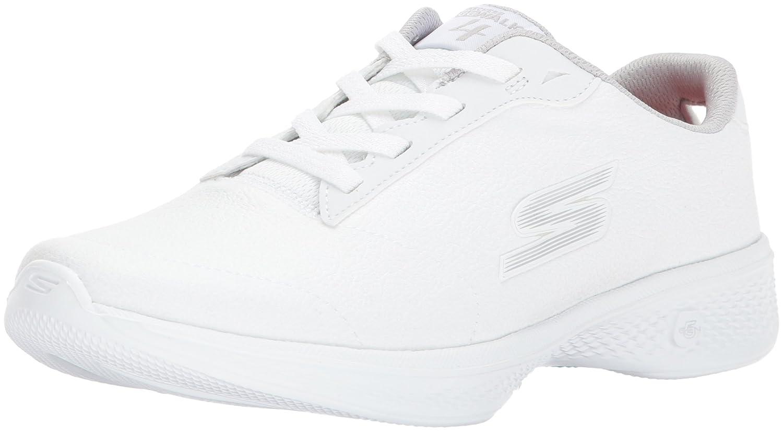 Skechers Damen Go Walk 4-Premier Sneakers, Schwarz  13 C/D US|White/Silver