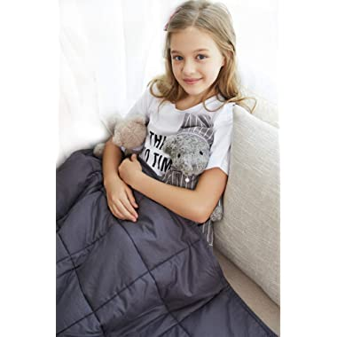 YnM Weighted Blanket (10 lbs for Kids, 41''x60'') | 2.0 Cool Heavy Blanket | 100% Cotton Material with Glass Beads