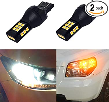 Xenon White for Daytime Running Light//Parking Light Super Bright ENDPAGE 7443 7443LL 7444NA T20 White//Amber Switchback LED Bulb 2-pack Yellow for Turn Signal Lights 62-SMD with Projector Lens