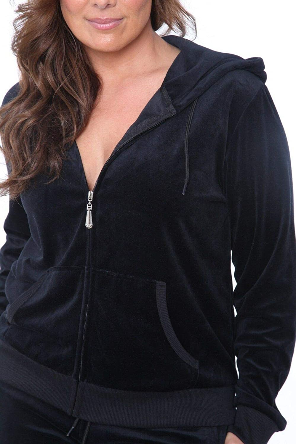 Outfit White Mark Women/'s Velour Zip Up Hoodie w// Pants 2 Piece Set