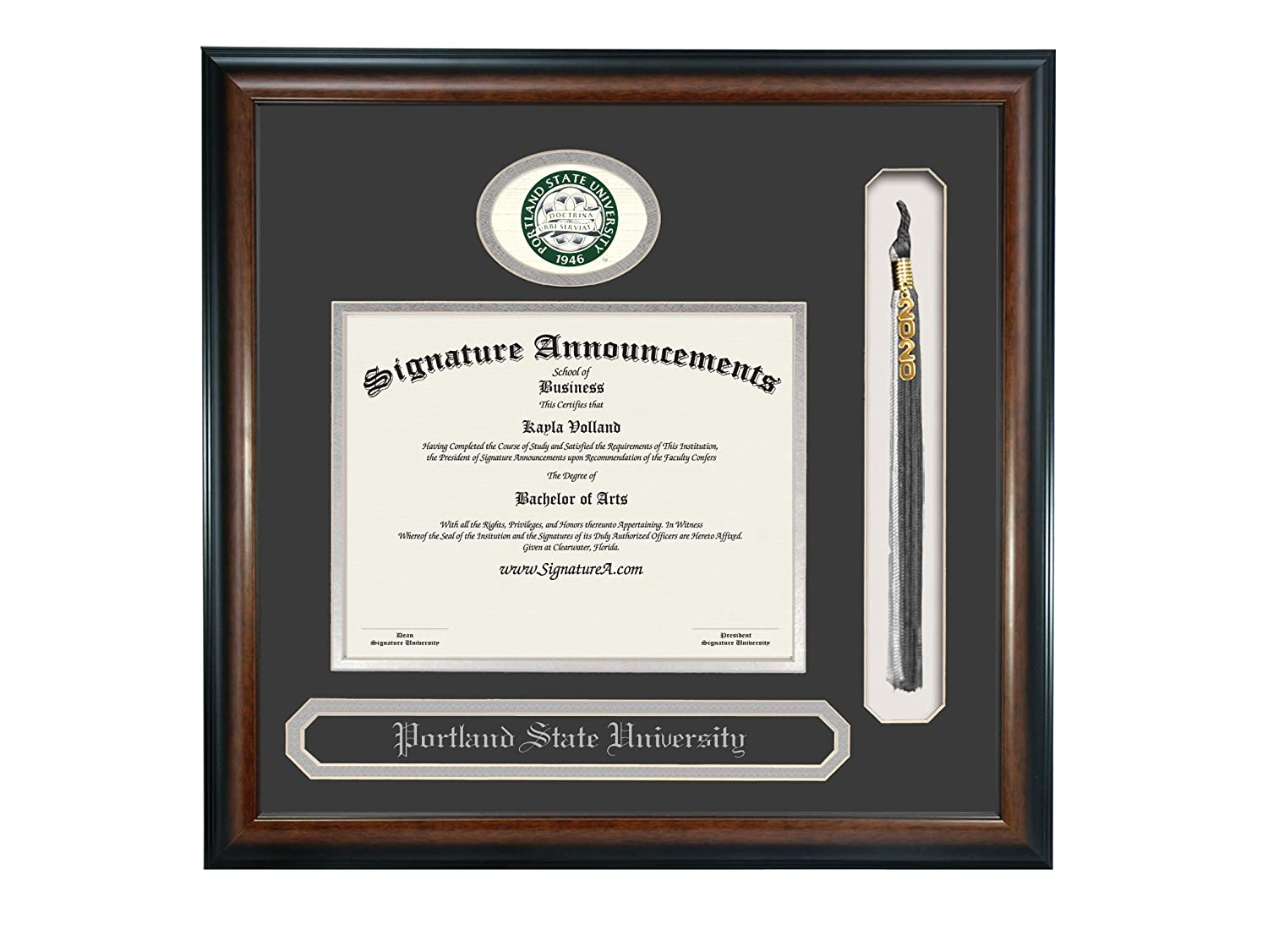 Name /& Tassel Graduation Diploma Frame 16 x 16 Matte Mahogany Sculpted Foil Seal Signature Announcements Portland State University Undergraduate