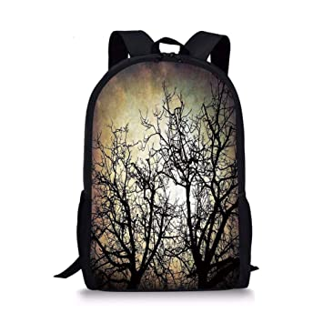 ZOZGETU backpack School Bags Horror,Scary Twilight Scene with Grunge Tree  Branch Silhouette over Dirty 254f5dabc3