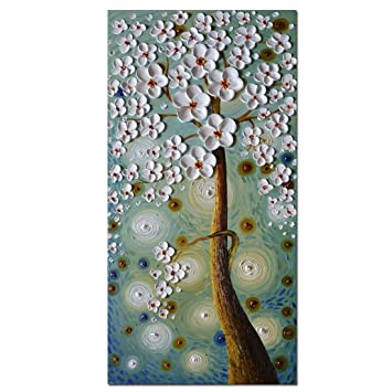 Asdam Art 3D Hand Painting Tree Pictures Framed Artwork For Wall Large
