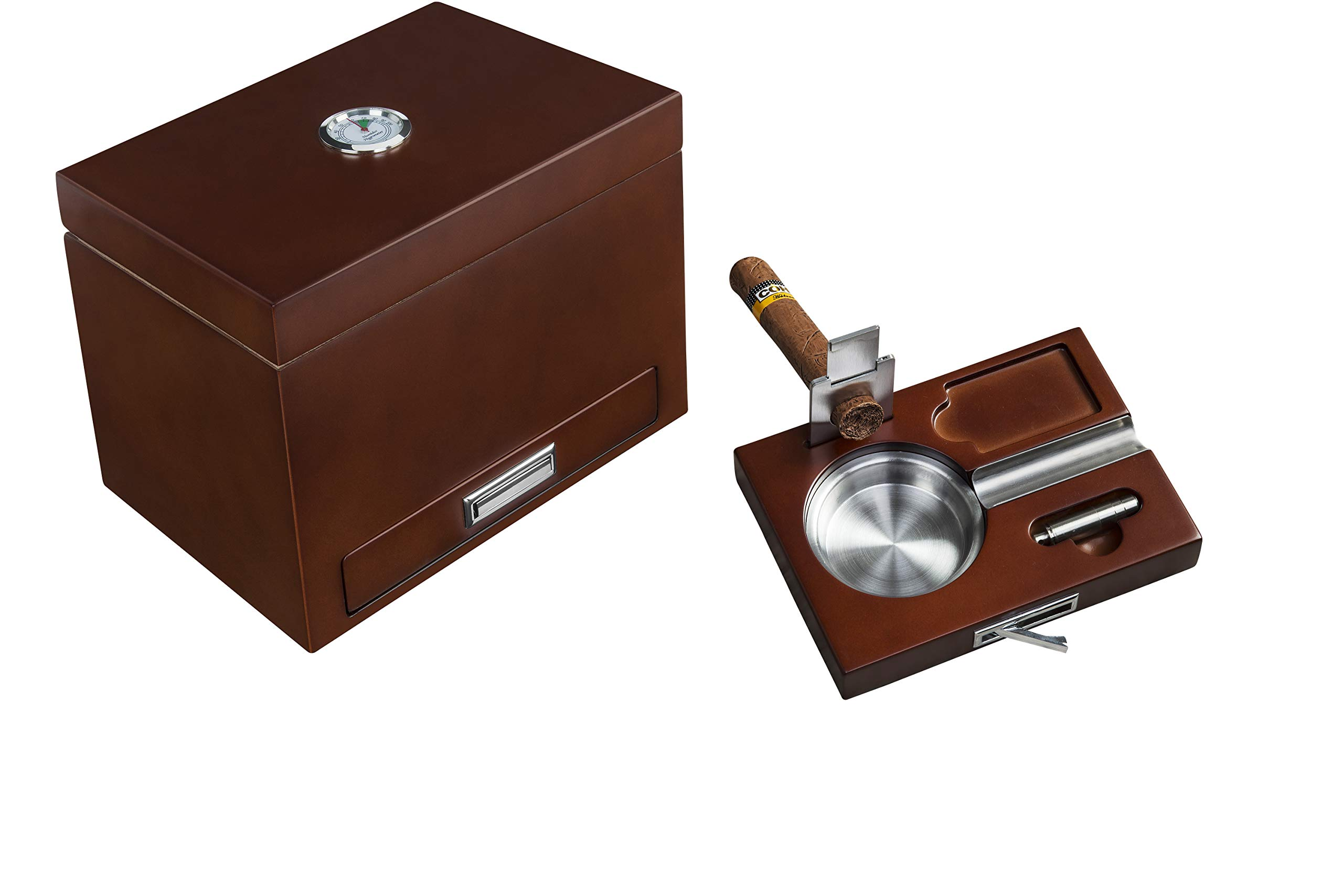 Cigar Humidor with Drawer Ashtray Set, Cutter and Puncher. Includes humidifier & Hygrometer. Holds 20-25 Cigars - by Flint and Ember (Brown)