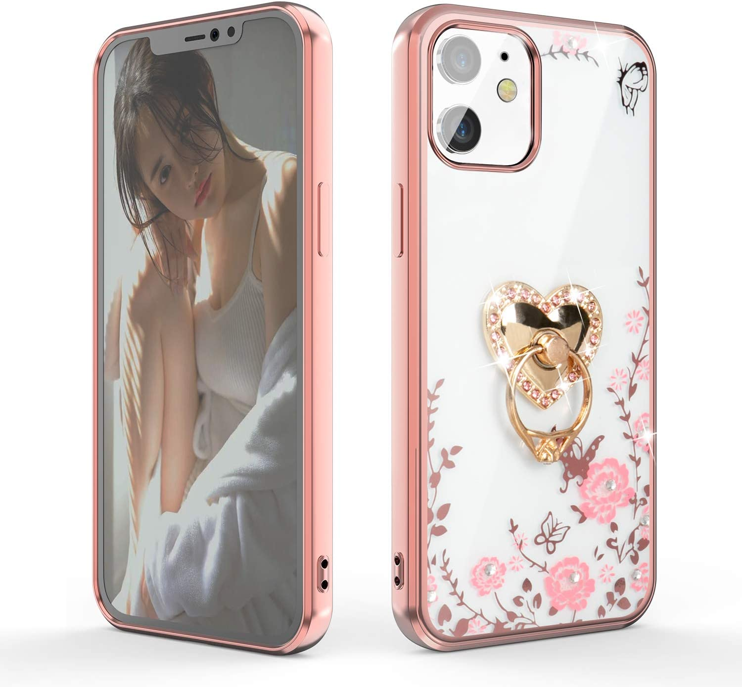 WATACHE for iPhone 12 Case,for iPhone 12 Pro Case,Glitter Diamond Secret Garden Floral Butterfly Clear Back Soft TPU Case with Shiny Rhinestone Ring Grip Holder Stand for iPhone 12/12 Pro,Rose Gold