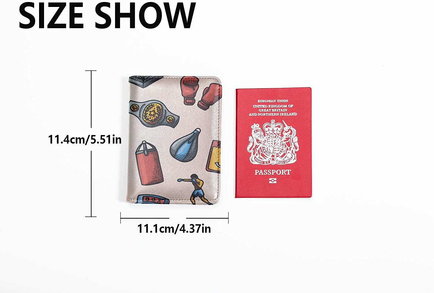 Passport Cover Holder For Women Cute Colored Creative Boxing Gloves Men Passport Case Multi Purpose Print Passport Cover With Holder Travel Wallets For Unisex 5.51x4.37 Inch