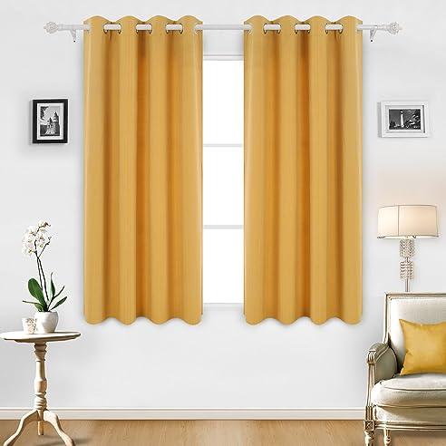 Deconovo Streifen Ösen Vorhänge Gardine Kinderzimmer 175x140 Cm Gelb 2er Set