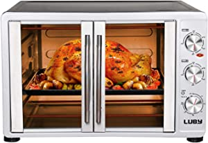 Luby Large Toaster Oven Countertop French Door Designed, 18 Slices, 14'' pizza, 20lb Turkey, Silver (Renewed)