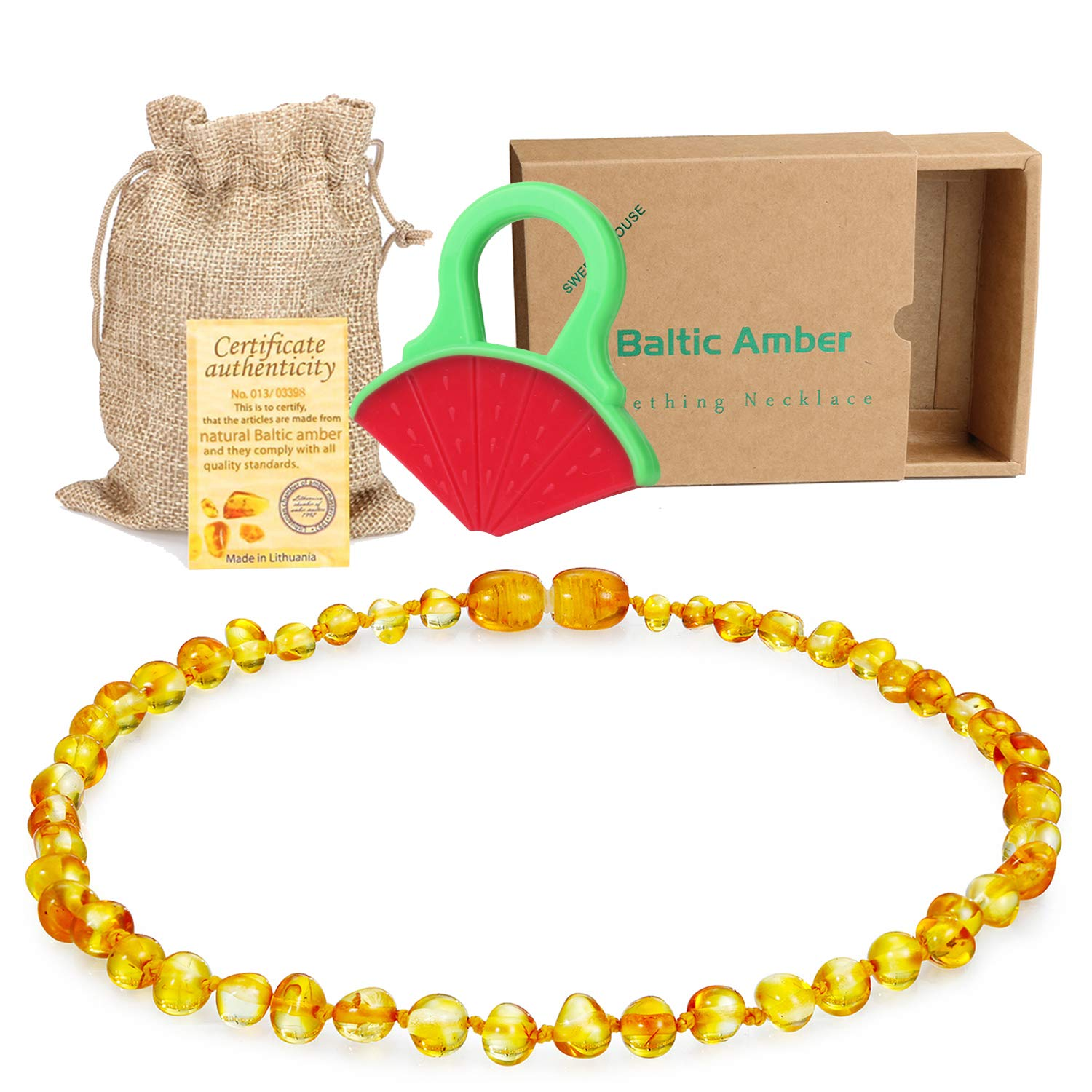 Raw Baltic Amber Teething Necklace for Babies - (Honey) Anti-Flammatory, Drooling & Teething Pain Reduce Properties - Natural Certificated Oval Baltic Jewelry with The Highest Quality