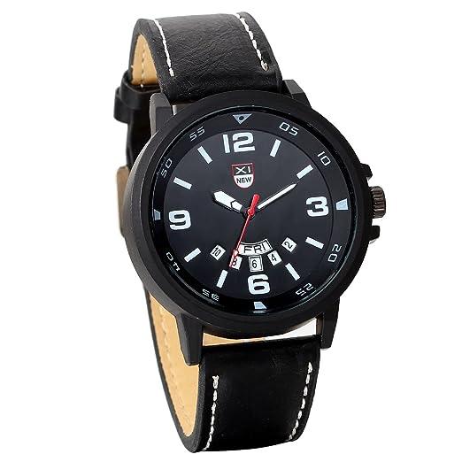 JewelryWe Reloj Militar Deportivo Esfera Grande, Relojes de Hombre Cuarzo Negros, Correa de Cuero