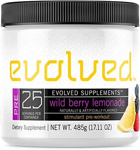 Evolved Supplements Stimulant Preworkout, 25 Servings, Wild Berry Lemonade, 3 Stage Caffeine Release, Pump, Focus, Endurance Complex with Beta Alanine, Nitrosigine, KSM 66, Alpha GPC