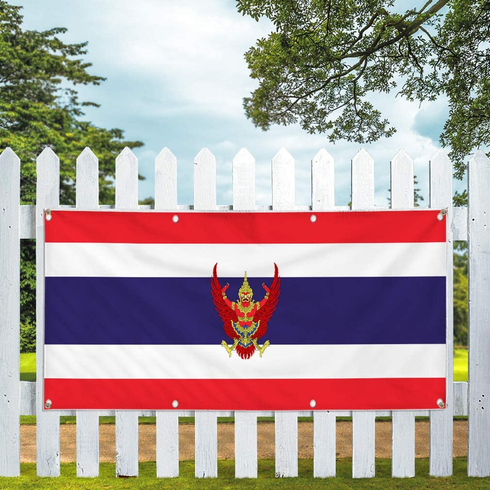 Set of 2 32inx80in Multiple Sizes Available Vinyl Banner Sign Thailand Flag Red White Blue Countries Marketing Advertising Red 6 Grommets