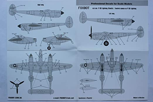 Foxbot Decals 1//72 LOCKHEED P-38 LIGHTNING Fighter STENCILS SET