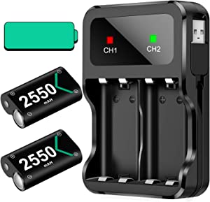 Rechargeable Battery Pack for Xbox One/Xbox Series X S, Rechargeable Batteries with Controller Charger Accessories for Xbox One/One S/One X/Elite, Battery Pack Rechargeable 2x2550 Included