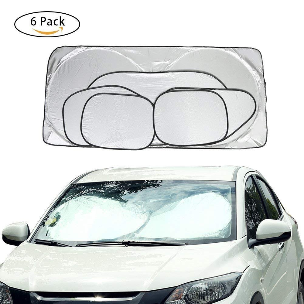 Car Window Sunshade Windshield Protector 6-pack Fordable UV Reflector for All Car Glass Sunshade, Keeps Vehicle Cooler