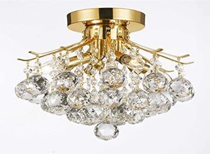 Gold finish crystal chandelier with 4 lights lighting amazon gold finish crystal chandelier with 4 lights lighting aloadofball Gallery