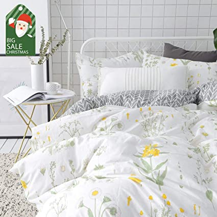 VClife Floral Duvet Cover Sets Full Queen Bedding Sets White Yellow Flower  Branches Design Bedding Duvet