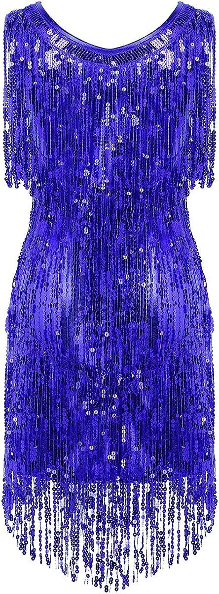 Freebily Vestido de Danza Latina Tango con Flecos Lentejuelas para Mujer Cuello en V Disfraz Bailarina Actuaci/ón Ropa Danza Moderna Cl/ásica