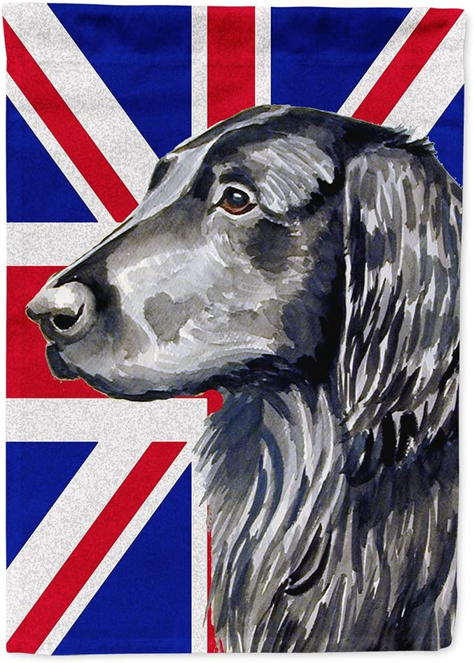 Caroline's Treasures LH9473GF Flat Coated Retriever with English Union Jack British Flag Flag Garden Size, Small, Multicolor
