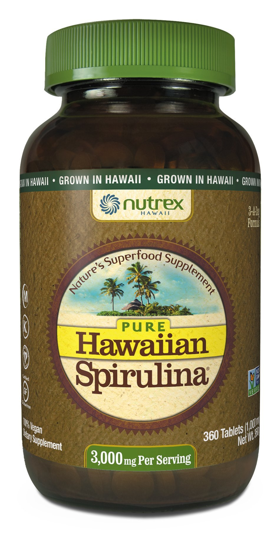 Nutrex Hawaii Pure Hawaiian Spirulina 1000mg-360 Tablets by NUTREX HAWAII