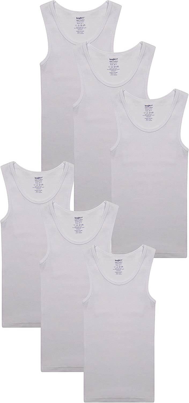 Buyless Fashion Boys Scoop Neck Tagless Undershirts Soft Cotton Tank Top 6 Pack