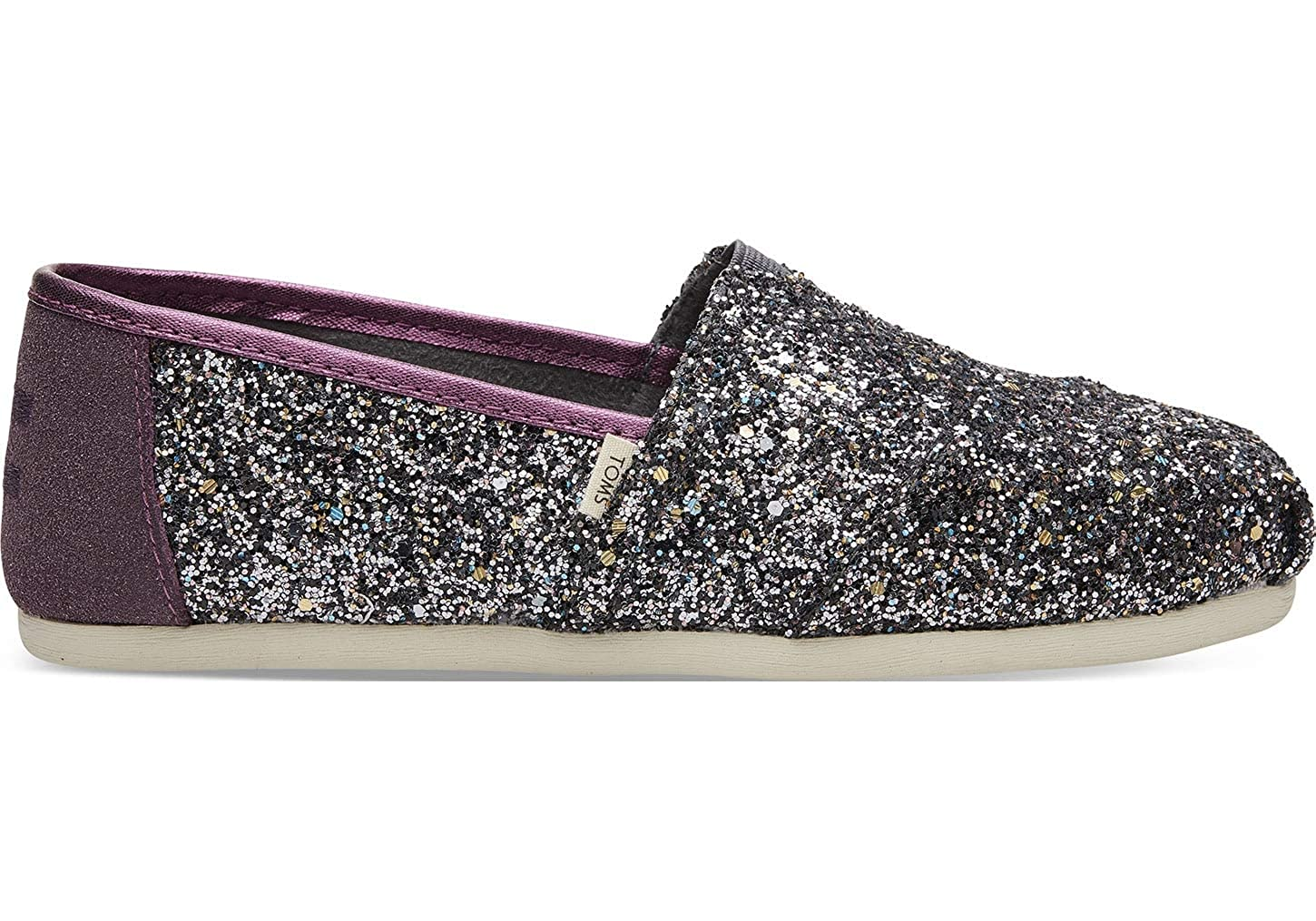 Amazon.com | TOMS Womens Alpargata Pewter Party Glitter (Vegan) 5 B US | Fashion Sneakers