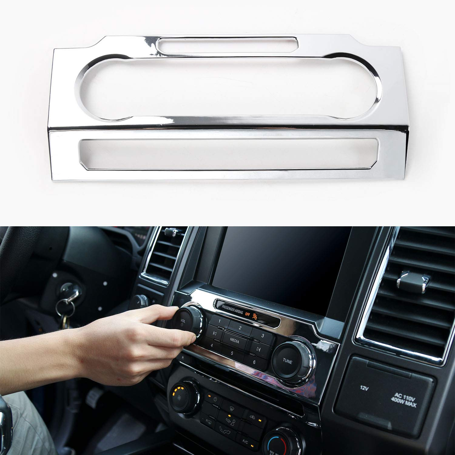 Chrome Central Control Volume Panel Decorative Trim for Ford F150 2015 2016 2017
