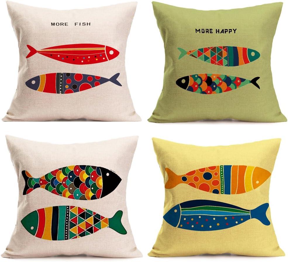 Sea Theme Fish Pillow Covers Nautical Throw Pillowcases Beach Cushion Covers 18 X 18 Inch,4 Pack(Sea-2)